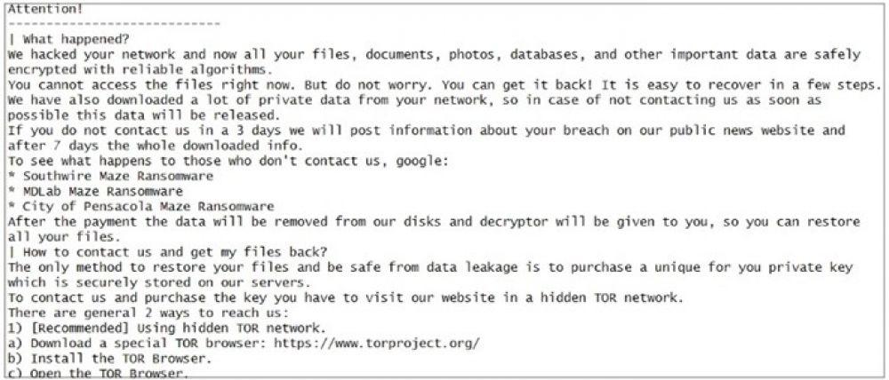 O suposto bilhete do sequestro de dados e arquivos com instruções de pagamento