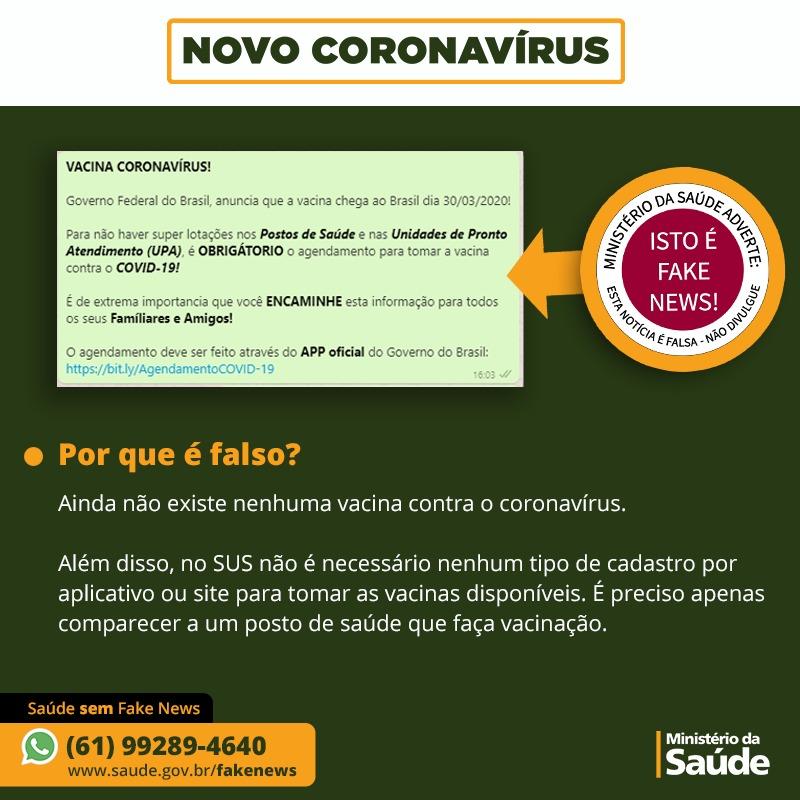 Governo do Brasil anuncia vacina do coronavírus - É FAKE NEWS!