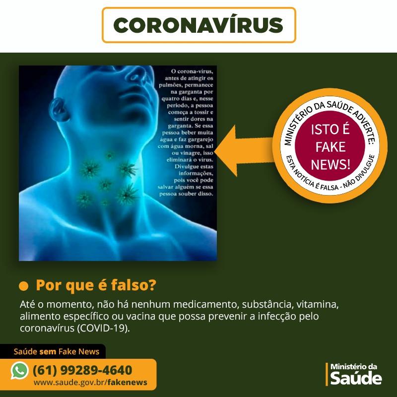 Beber muita água e fazer gargarejo com água morna, sal e vinagre previne coronavírus - É FAKE NEWS!