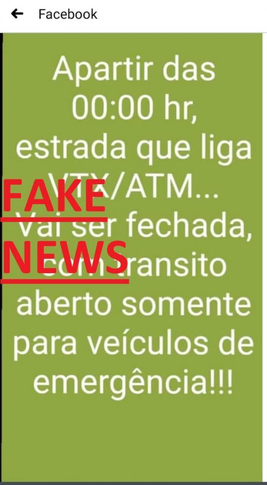 FAKE NEWS- Rodovia de VTX-ATM não será fechada.