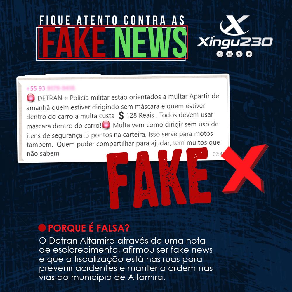 FAKE NEWS: DETRAN Altamira não esta dando multa para quem dirigir sem máscaras