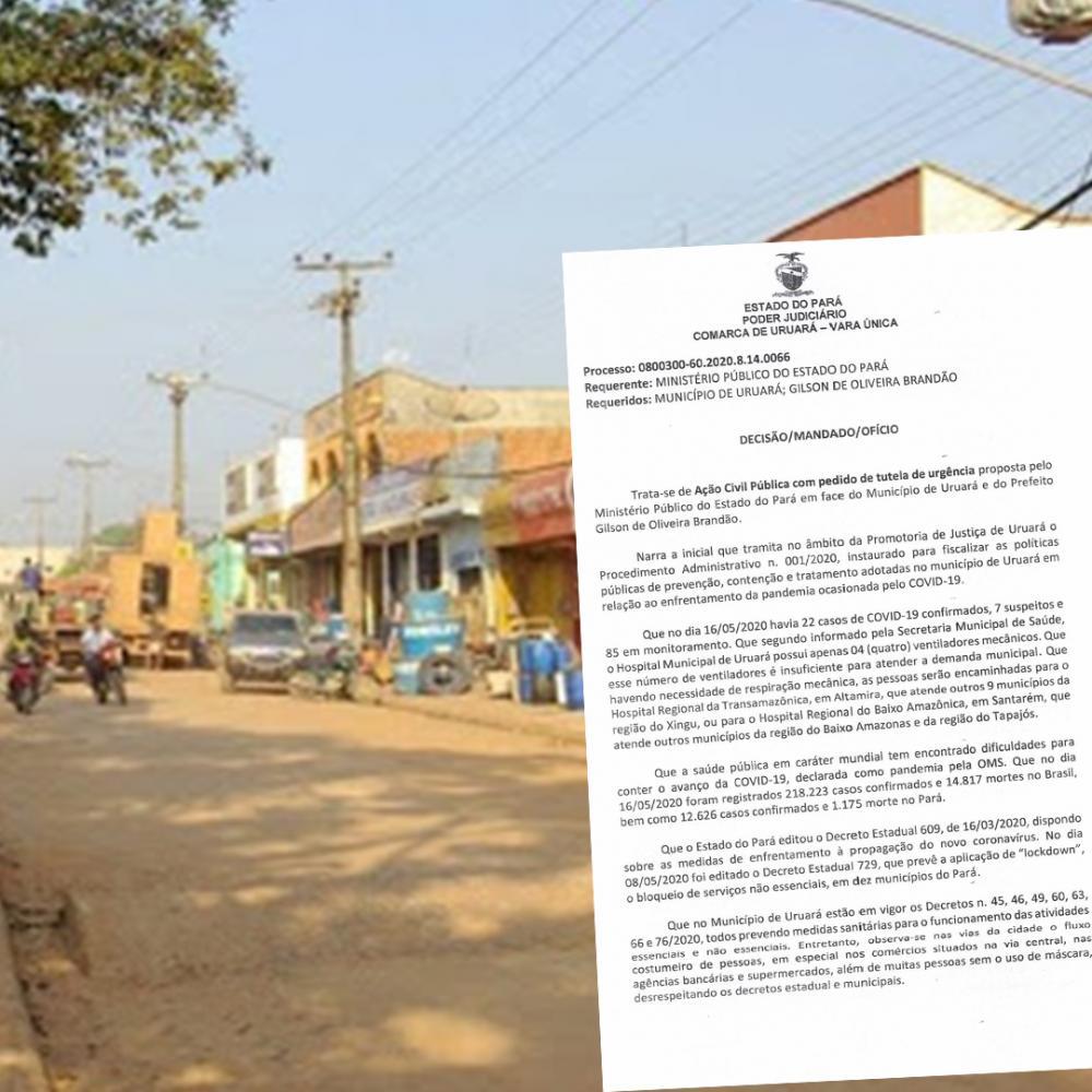 Justiça determina que prefeitura decrete fechamento de serviços não essenciais por 15 dias em Uruará