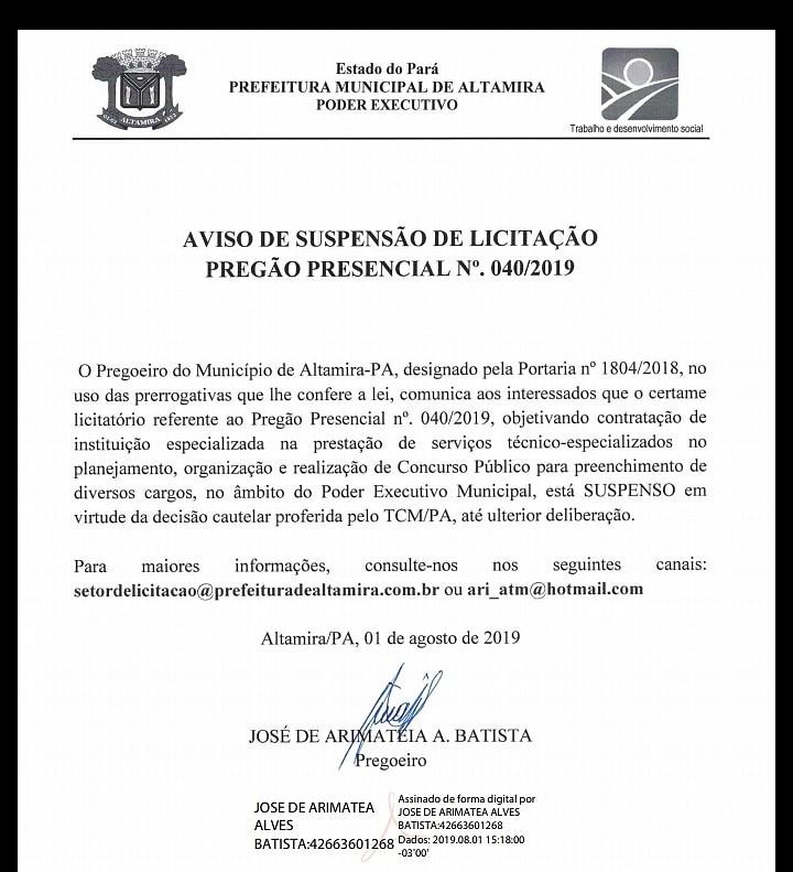 TCM se pronuncia sobre suspensão de pregão em Altamira